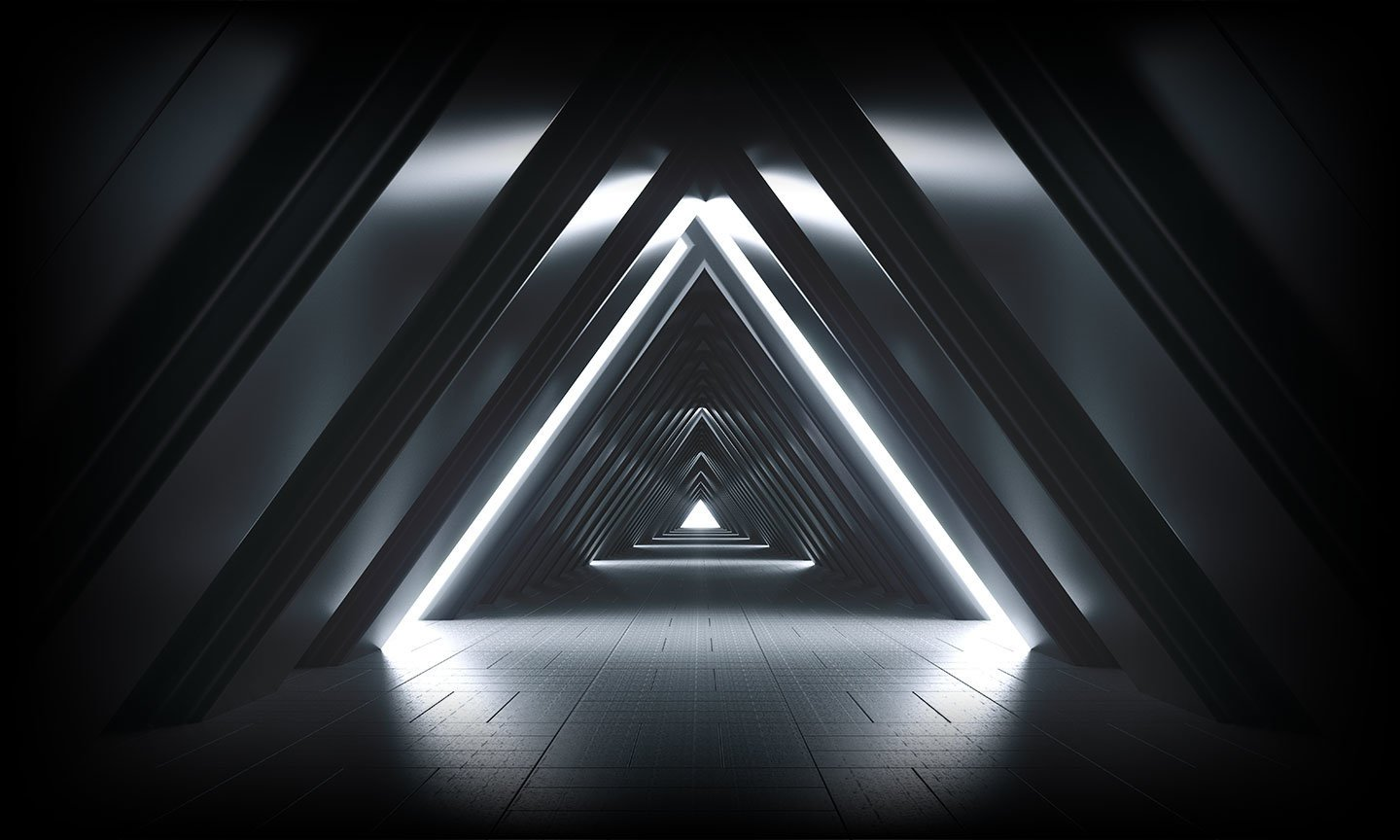 Futuristic triangular room