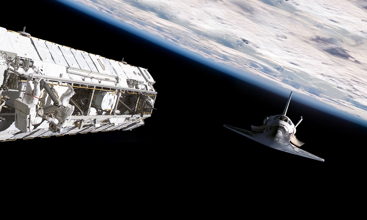 Space dock with space shuttle and astronauts