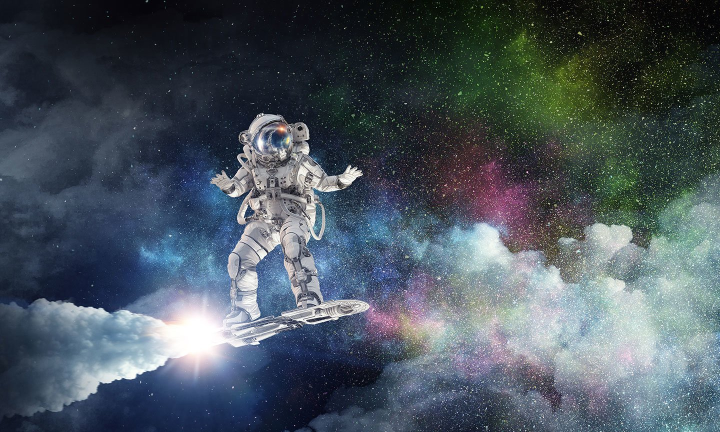 Astronaut on a rocket-powered surf board in space