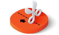 Scissors with cut line icon