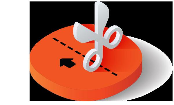 Scissor with cut line icon