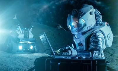 Astronaut with laptop