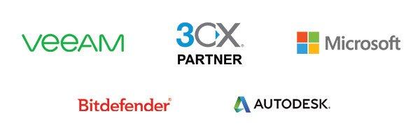 Veeam, 3CX partner, Microsoft, Bitdefender, Autodesk